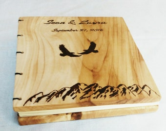 Custom Wood Burned Eagles Guest Book Made From Salvaged Wood