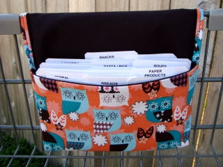 Coupon Holder Organizer Purse  Budget Organizer Holder - Attaches to Your Shopping Cart - Teal and Peach Owls