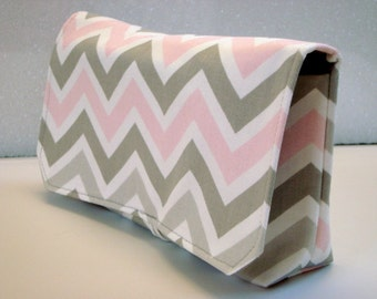 40% Off Coupon Organizer Cash Budget Organizer Holder- Attaches to your Shopping Cart - Zig Zag Chevron - Gray and Pink - Bella