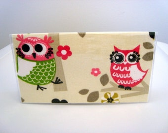 Checkbook Cover , Holder - Owls Sitin in a Tree