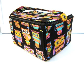 Coupon Organizer Super Large 6 inch Depth Fabric Coupon Organizer Tote  - With ZIPPER CLOSER  Peace Owl