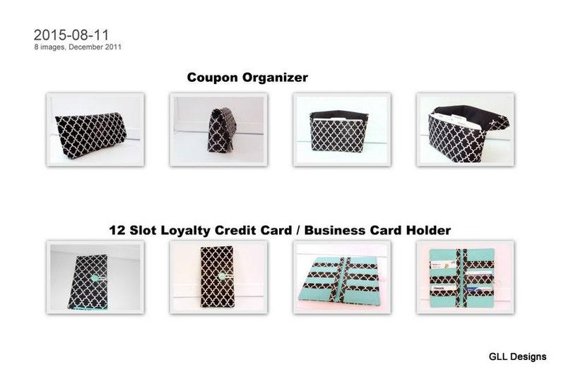 Quatrefoil Black Coupon Organizer Cash Budget Organizer Holder  12 Slot Loyalty Card Holder Set