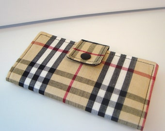 Fabric Checkbook Cover , Holder - Tan,Black and Red Plaid