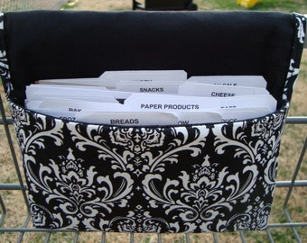 Coupon Organizer / Budget Organizer Holder  - Attaches To Your Shopping Cart- Madison Decor Black and White Damask