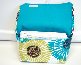 Coupon Organizer /Budget Organizer Holder  / Attaches To You Shopping Cart - Michael Miller Lagoon -Teal and Lime Teal Lining