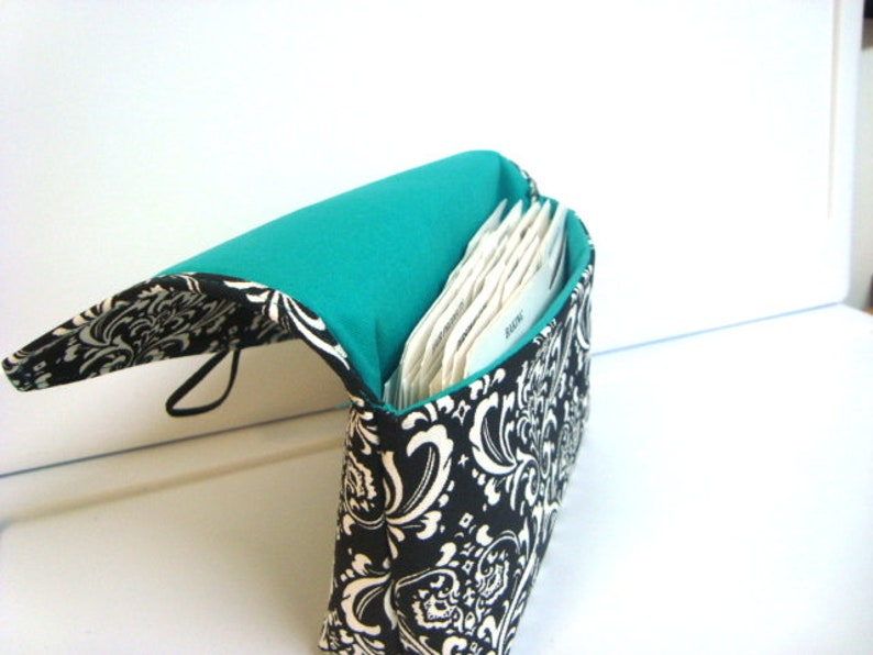 Coupon Organizer Budget Organizer Holder  Attaches To You Shopping Cart  Black and White Damask with Turquoise Lining