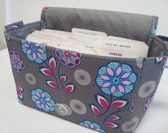 "Large 4"" Size Coupon Organizer / Budget Organizer Holder Box - Attaches to Your Shopping Cart - Gray with  Blue Floral"