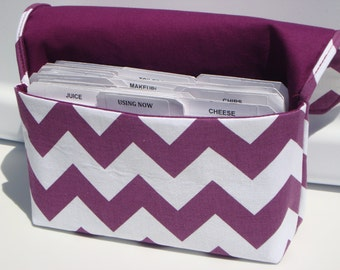 20% OFF Coupon Organizer Holder  Purse Organizer - Attaches to your Shopping Cart - Purple and White  Chevron - Zig Zag