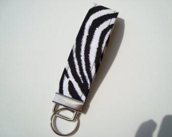 Wristlet Key Fob / Key Chain - Zebra