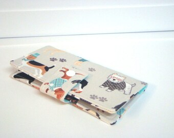 Fabric Checkbook Cover, Checkbook Holder Cash Holder - Dogs