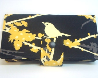 Fabric Checkbook Cover, Holder -  Black with Yellow Sparrows, Checkbook Carrier
