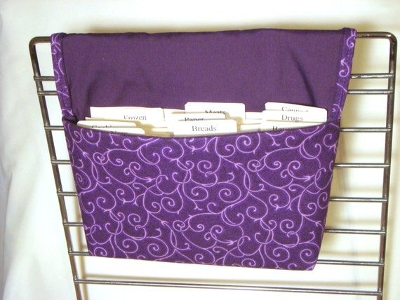 20% OFF Coupon Organizer /Budget Organizer Holder - Attaches to your shopping Cart - Purple With White Vines OOP