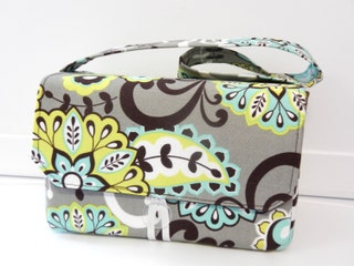 Large 4 Size Coupon Organizer  Budget Organizer Holder Box  Coupon Bag - Lime and Aqua Floral Paisley  On Gray