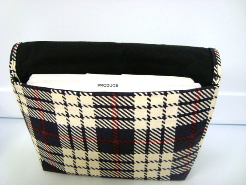 Attaches to Your Shopping Cart Fabric Coupon Organizer Budget Organizer Holder Blue and Cream Plaid