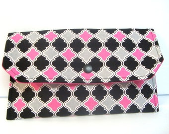 Cash Envelope Budget Use for the Dave Ramsey System or Coupon Organizer - Pink Black and Gray Lattice