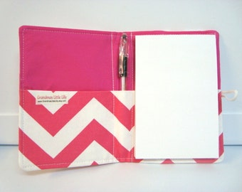 Honey Do List Grocery List Taker Day Planner  Note Taker Comes with Note Pad and Pen Hot Pink Chevron READY TO SHIP