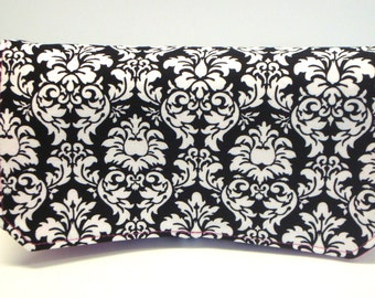 30% Off Coupon Organizer Wallet / Budget Organizer Holder- Attaches to your Shopping Cart -  Black and White MINI Damask - Hot Pink  Lining