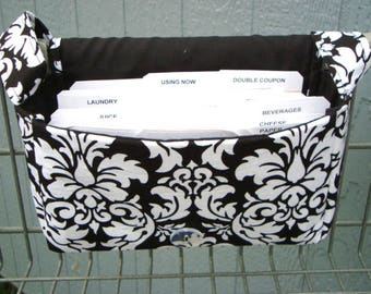 "Large 4"" Size Coupon Organizer / Budget Organizer Holder Box Coupon Bag - Black and White Dandy Damask  Select Your Size"