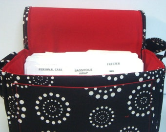 "Large 4"" Size Fabric Coupon Organizer Box Holder -Attaches to your Shopping Cart - Black with White Dotted Circles with Red Lining"