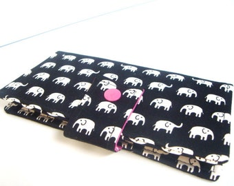 Fabric Checkbook Cover , Checkbook Holder Coupon Holder Cash Holder Elephant Black and White
