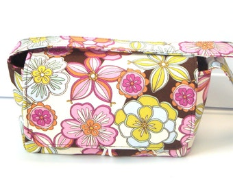 "4"" Large Size Coupon Organizer Box Holder -With Strap - Attaches to Your Shopping Cart- Pink and Green Floral"