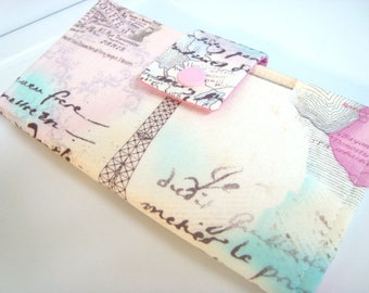 Fabric Checkbook Cover, Holder Cash Holder Coupon holder - Paris In April