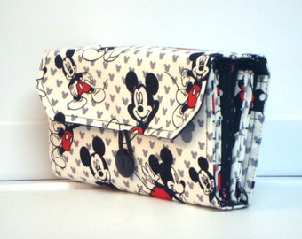 Cash Envelope Wallet  / Dave Ramsey System / Zipper Envelopes -  Mickey Mouse with Black Dots