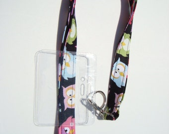 Lanyard - Key Chain - ID Holder with Swivel Lobster Claw and Key Ring and Badge Cover - Sleepy Owls