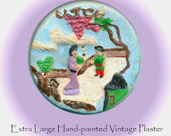 Button--Large Vintage Hand Crafted Plaster and Paint Chinoiserie Garden Sew-thru