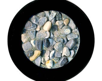 Button---Large Different 1960s French Black Plastic with Real Pebbles