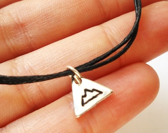 SALE -Silver Mountain bracelet, anklet or necklace -Hand Stamped Triangle Mountain Charm -Adventure Jewellery -Waxed cotton cord -8 colors