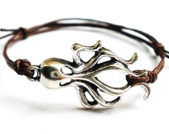 SALE -Amazing Octopus bracelet, anklet or choker -waxed cotton cord -Gift for him her or Best Friend -Unisex -Men Cord Bracelet -8 colors