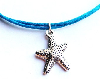 SALE -Silver Starfish cord bracelet, Starfish cord anklet or Starfish choker necklace -waxed cotton cord -8 Colors -Best Friend -Bridesmaids