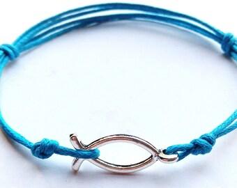 SALE -Jesus fish cord bracelet, Jesus fish cord anklet or Jesus fish choker -waxed cotton cord -8 Colors -Best Friends -Unisex bracelet
