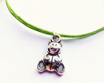 SALE -Silver Teddy bear cord bracelet, Teddy bear cord anklet or Teddy bear choker necklace -waxed cotton cord -8 Colors -Best Friends gift