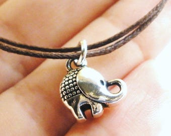 SALE -Lucky Elephant cord bracelet, anklet or choker -waxed cotton cord -8 Colors -Cute Prince Jewelry -Best Friend Gift -Boho -Casual