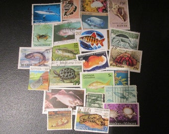Aquatic Life World Postage Stamps, 23 different international stamps fish, shells, sea life, for journals, collages, altered art, collecting
