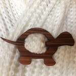 Custom Order for Michelle. Wooden Turtle Shawl Pin, Brazilian Rosewood