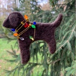 Felt Mischievous Dog Christmas Ornament. Needle Felted