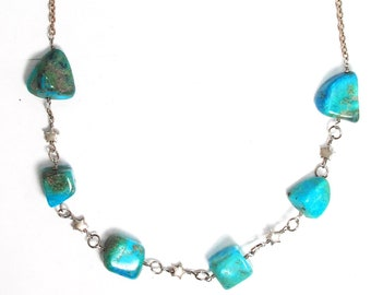 Western style necklace in sterling silver and gemstone turquoise nuggets, with sterling silver stars