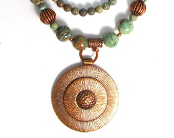 "Solid copper, calsilica jasper 2-strand necklace, 22 - 24"", turquoise, chocolate stones"