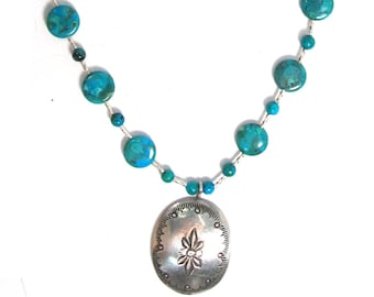 """Delicate sterling silver and turquoise necklace with Native American concho, 21"""" long"""