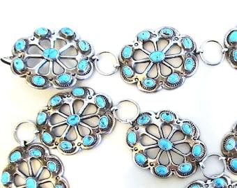 "Sterling silver Sleeping Beauty turquoise sandcast belt, vintage Native American Navajo made, 39"""