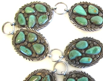 """Royston turquoise sterling silver belt by Navajo silversmith Mary Morgan, 36"""" long"""