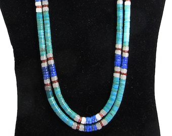 Double strand sterling silver & turquoise necklace with lapis and red jasper