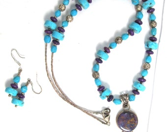 Sterling silver necklace and earrings in real Sleeping Beauty turquoise, purple sugilite