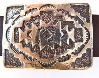Sterling silver concho bracelet, leather strap, Navajo silversmith Elmer Kee, Rug Pattern