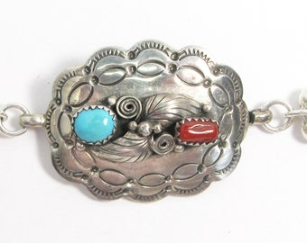 """Sterling silver link bracelet, Native American concho, turquoise, coral, stamping, 6 1/2"""" long"""
