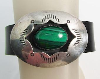 "leather bracelet, sterling silver & shadowbox malachite concho, 1 3/8"" wide, 7"" wrist"