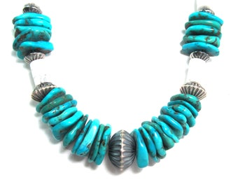 """Kingman turquoise necklace in sterling silver and white buffalo stone, 24"""" long"""